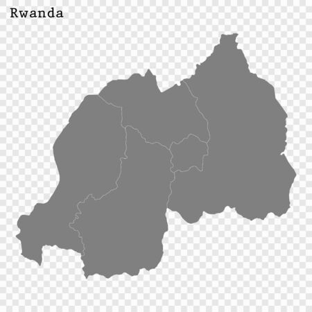 High quality map of Rwanda with borders of the regions