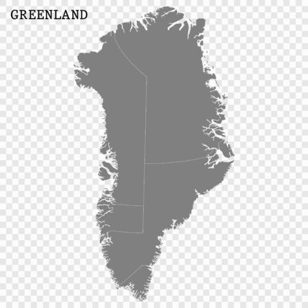 High quality map of Greenland with borders of the regions Vectores
