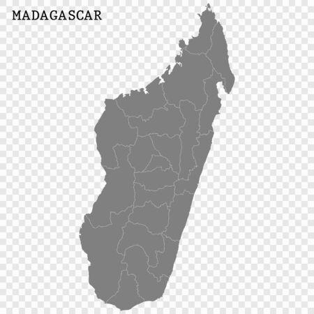 High quality map of Madagascar with borders of the regions Ilustração Vetorial