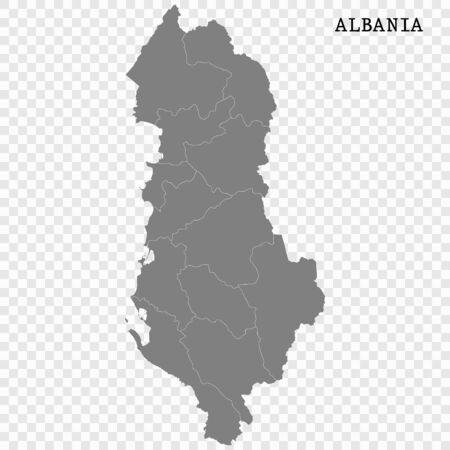 High quality map of Albania with borders of the regions Illustration