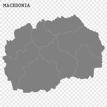 High quality map of Macedonia with borders of the regions Stock Illustratie