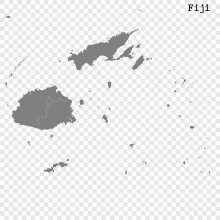 High quality map of Fiji with borders of the regions Illustration
