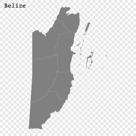 High quality map of Belize with borders of the regions
