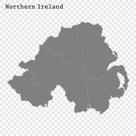 High quality map of Northern Ireland with borders of the regions Ilustracja