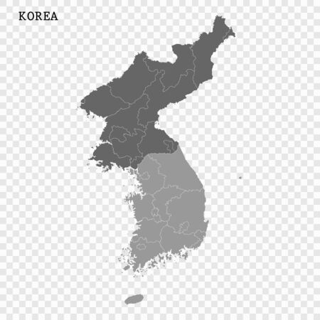 High quality map of Korea with borders of the regions