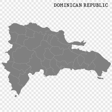 High quality map of Dominican Republic with borders of the regions