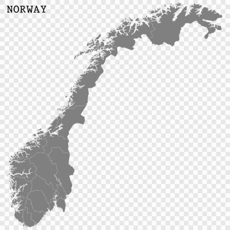 High quality map of Norway with borders of the regions