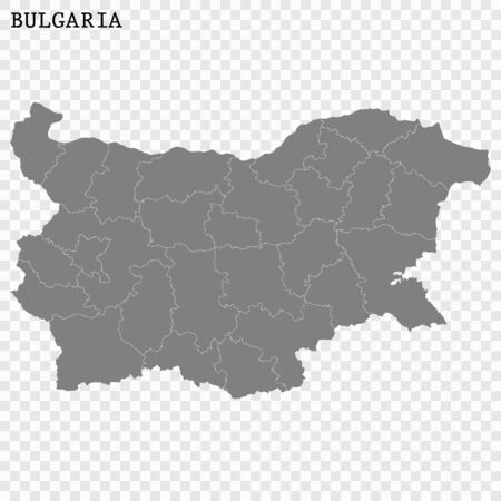 High quality map of Bulgaria with borders of the regions