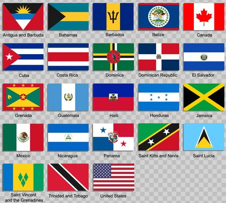 all flags of Americas. Vector Illustration