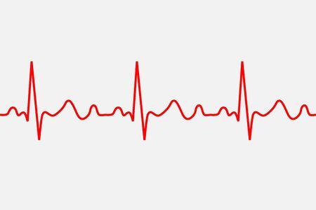 icona del battito cardiaco. Traccia di patologia ECG, illustrazione vettoriale