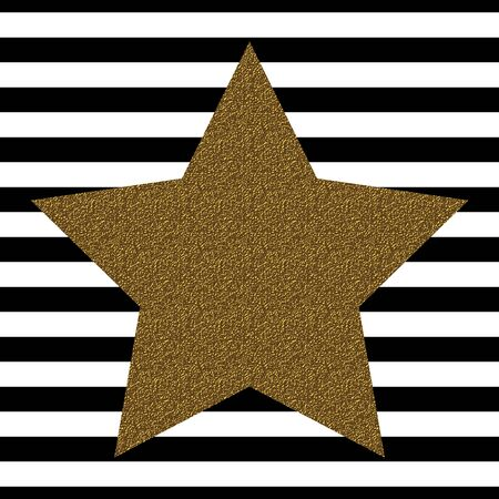 Golden star isolated on line background . Template for your design Stock Illustratie