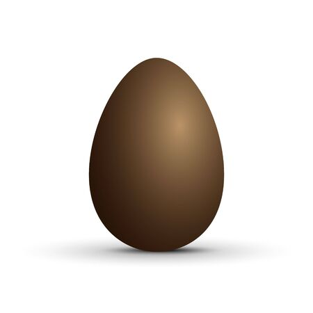 Brown sweet chocolate egg on white background. Vector illustration