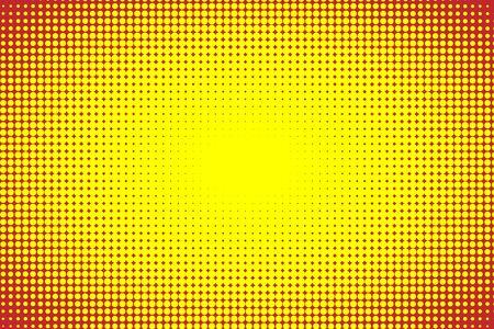 Abstrakte Vektor-Comics-Pop-Art-Stil-Vorlage, gelber und roter Halbtonhintergrund
