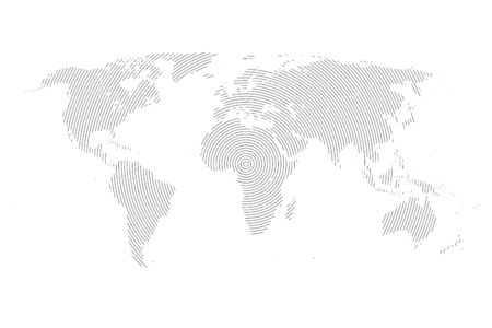 World Map with Lines. World Stripes Map.Travel Vector Illustration