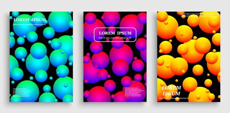 Template for cover design with geometric halftone gradients. Fluid shapes with hipster colors Çizim