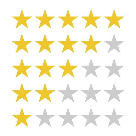 Star rating symbols with 5 star. Quality, feedback, experience, level concepts.. Isolated badge for website or app Illustration