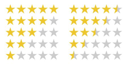 Star rating symbols with 5 star. Quality, feedback, experience, level concepts.. Isolated badge for website or app Stock Vector - 129882106