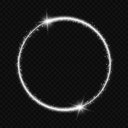 marco de círculo con efecto de luz vectorial. cometa de neón con cola resplandeciente de brillantes destellos de polvo de estrellas