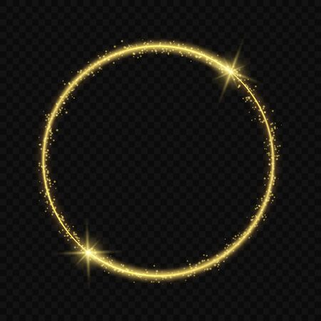 circle frame with Vector light effect. neon comet with glowing tail of shining stardust sparkles
