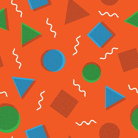 Abstract memphis style seamless pattern. Vector hipster background with geometric forms