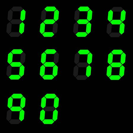 digital number signs made up from seven segments on dark background