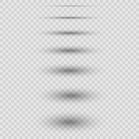 set of realistic vector shadows isolated on white background.