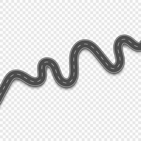 Roads with white stripes on a transparent background. Set curved routes Illusztráció