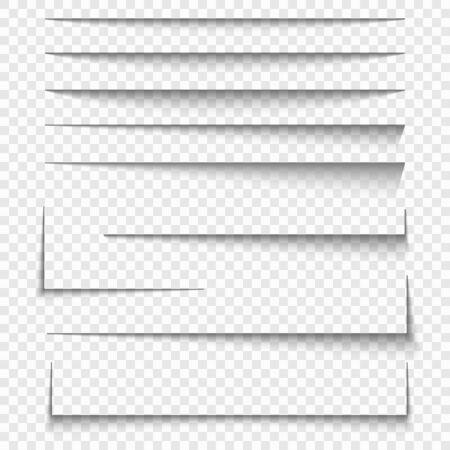 Paper sheet shadow effect. Vector transparent realistic shadows set. Иллюстрация