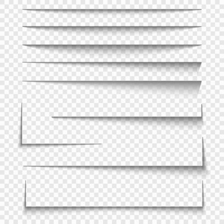 Paper sheet shadow effect. Vector transparent realistic shadows set. Illustration