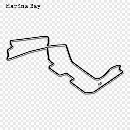Singapore grand prix race track. circuit for motorsport and autosport. Vector illustration.
