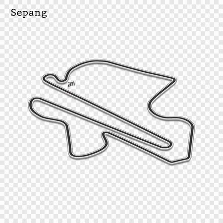 Malaysia grand prix race track. circuit for motorsport and autosport. Vector illustration.