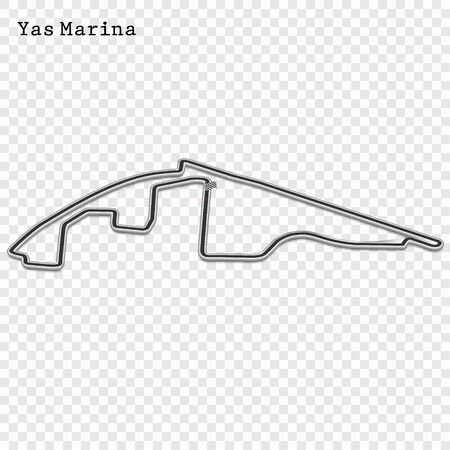 Abu Dhabi grand prix race track. circuit for motorsport and autosport. Vector illustration. 스톡 콘텐츠 - 129883894
