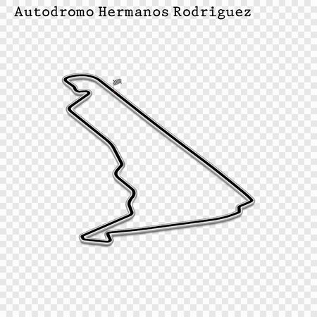 Mexico grand prix race track. circuit for motorsport and autosport. Vector illustration.