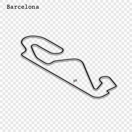 Spain grand prix race track. circuit for motorsport and autosport. Vector illustration. 스톡 콘텐츠 - 129883901