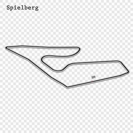 Austria grand prix race track. circuit for motorsport and autosport. Vector illustration. 스톡 콘텐츠 - 129883903