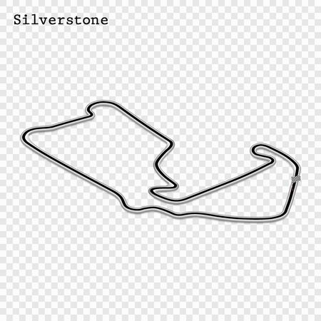 England grand prix race track. circuit for motorsport and autosport. Vector illustration. 스톡 콘텐츠 - 129883904