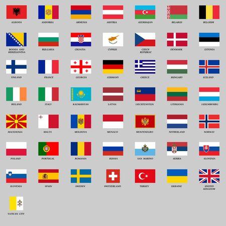 ensemble de tous les drapeaux européens. Illustration vectorielle Vecteurs