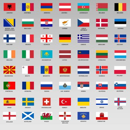 set of all Europe flags. Vector Illustration Ilustrace