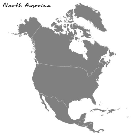 High quality map of North America with borders of the regions