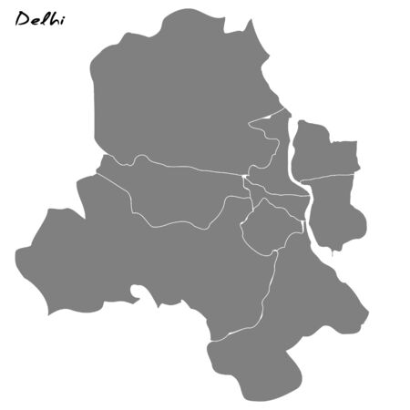 Delhi High quality map. Vector illustration . Template for your design