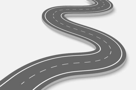 Route sinueuse sur un fond transparent. Modèle d'infographie sur l'emplacement de la route