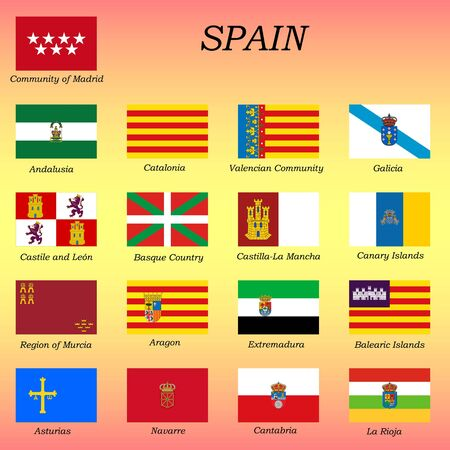 all flags of the Spain regions. vector illustrations