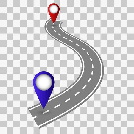 Winding Road on a transparent Background. Road way location infographic template with pin pointer