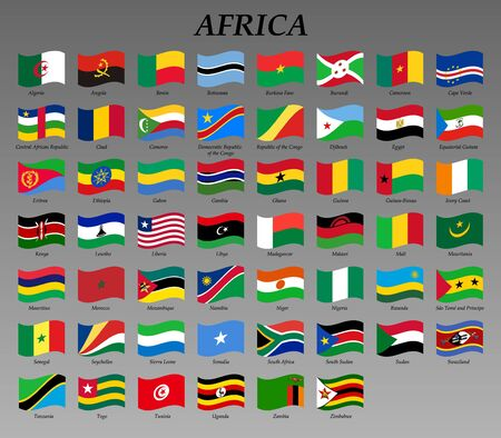 set of waving flags of Africa vector illustration Çizim