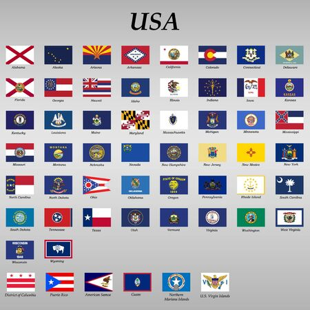 all Flags of states of the United States of America Illustration