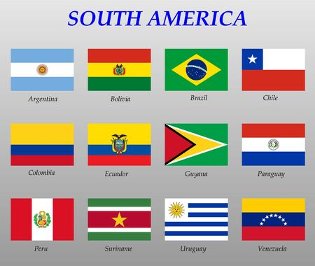 set of all flags of South America. Vector Illustration 일러스트
