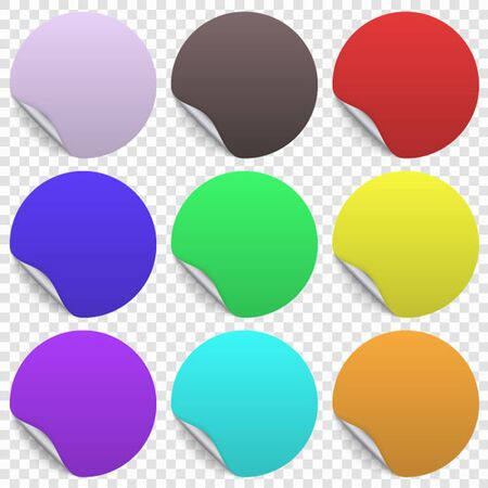 Round paper sticker template with bent edge and shadow, Transparent background
