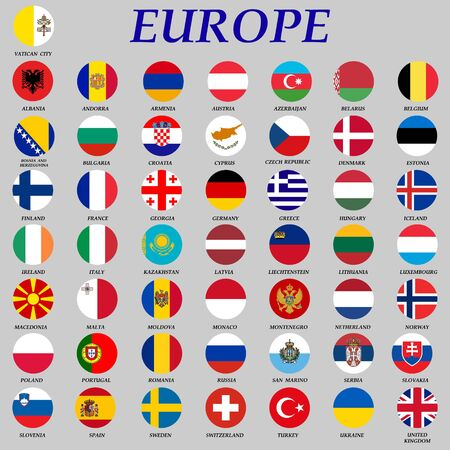round flags of Europe vector illustration . Template for your design