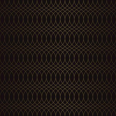 Golden vintage seamless pattern on black background. Vector illustration for retro design Фото со стока - 130095275