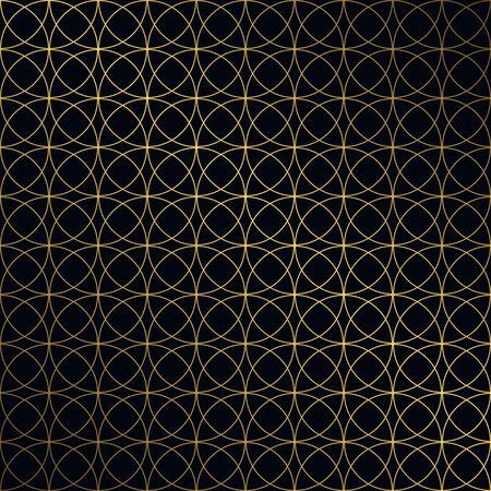 Golden vintage seamless pattern on black background. Vector illustration for retro design